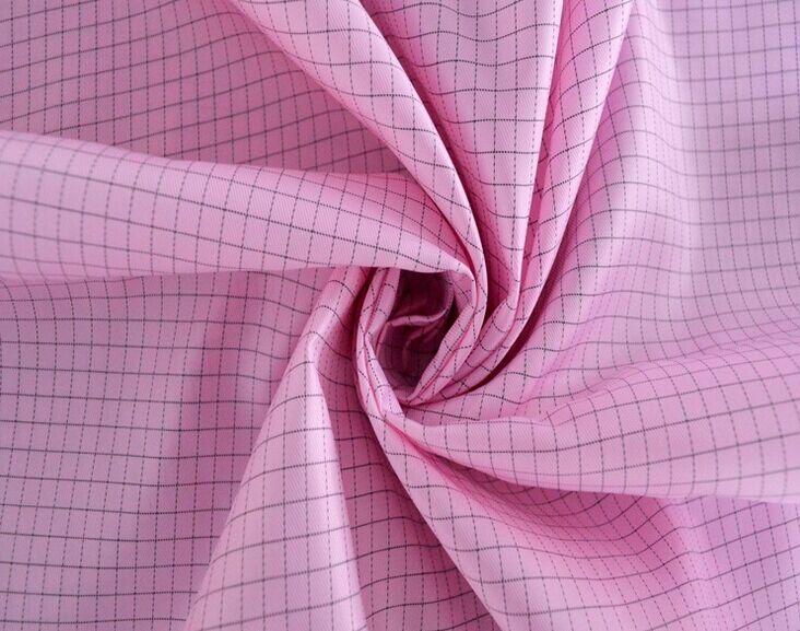 Anti-static twill grid taffeta fabric