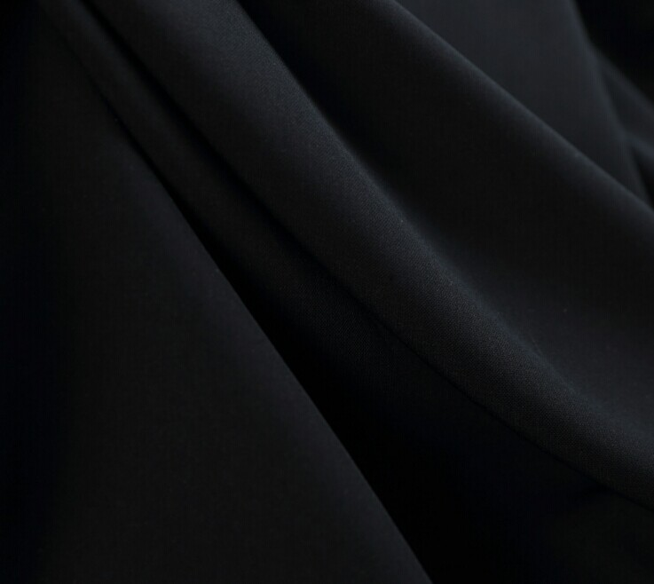 Polyester wool peach fabric formal black color